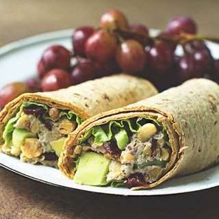 Cherry Chickpea Salad Wrap with creamy cashew dressing  #vegan #glutenfree (F)