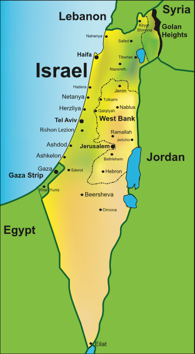 map with israel