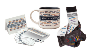 STrengths Swag Socks, Notecards, and Mug