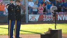 A fallen soldier is honored before a Salem-Keizer Volcanoes game July 1st, 2011