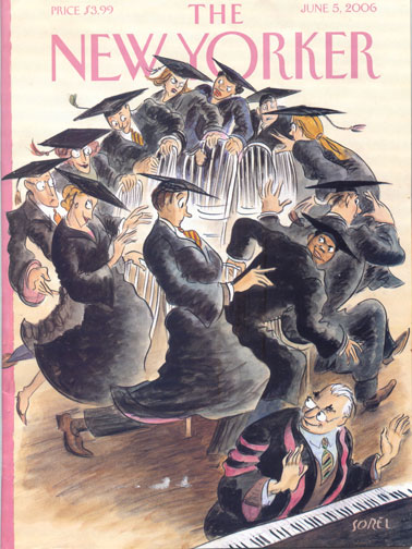 "New Yorker cover ""Musical Chairs"" by Edward Sorel, issue dated June 5 2006"