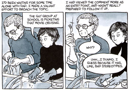 "Two panels from Alison Bechdel's ""Fun Home."""