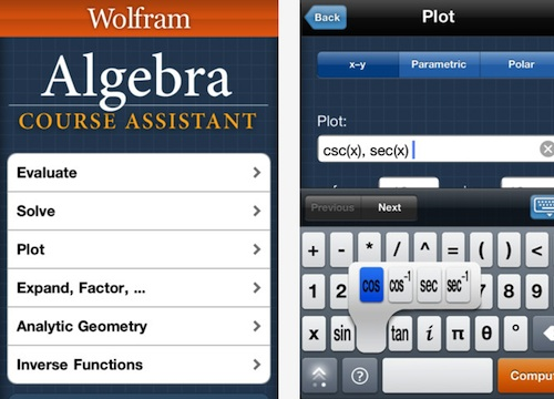 Wolfram Algebra Course Assistant iPhone iPad App