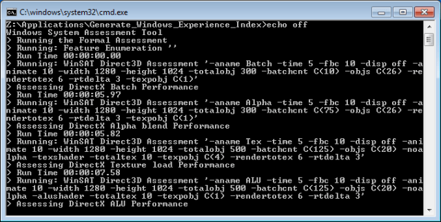 Windows System Assessment Tool Running