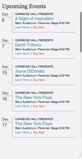 "Upcoming ""Carnegie Hall Presents"" concerts"