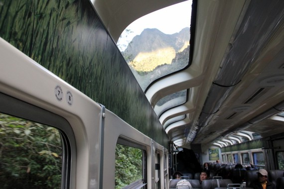 Peru Rails panoramic windows looking out to the towering peaks