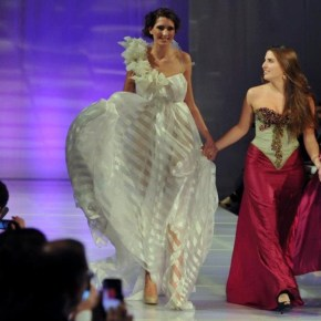 Designer Olivia Tarpey and model on runway (UK)