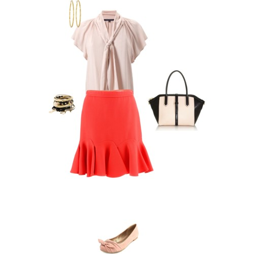 Red skirt outfit created on Polyvore.