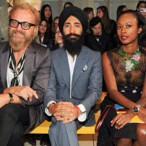 Johan Lindeberg, Waris Ahluwalia and Shala Monroque front row at the Tory Burch F13 show