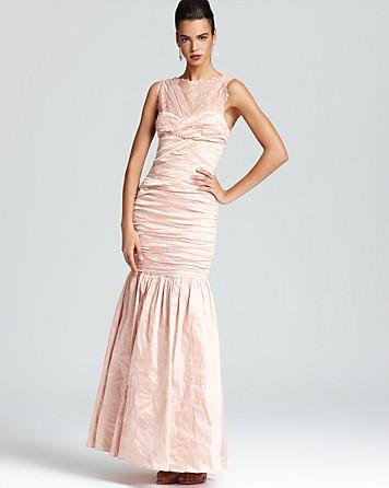 BCBGMAXAZRIA Gown Geo Lace Yoke $383