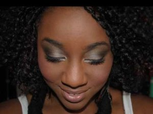 smokey eye with black and silver eyeshadow