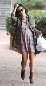 Jenna Dewan army jacket plaid dress