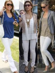 Audrina Patridge, Beyonce Knowles, and Kate Moss wearing white jeans