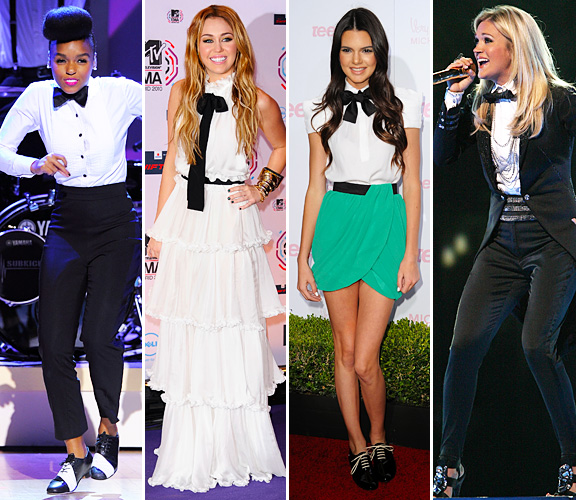 Janelle Monet, Miley Cyrus, Kendall Jenner and Carrie Underwood wearing bow ties
