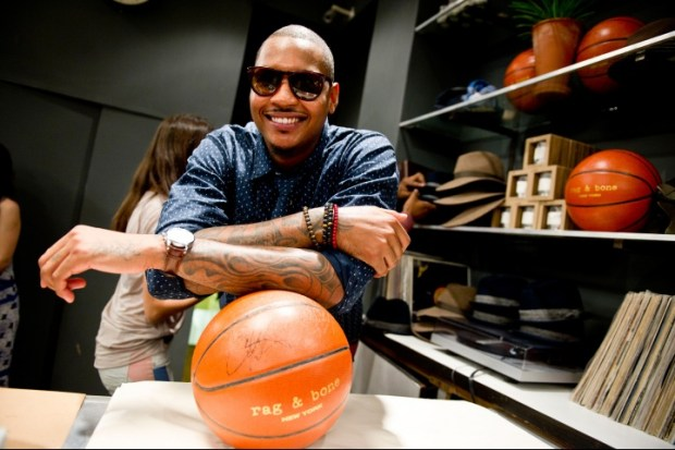 Carmelo Anthony posing with basketball