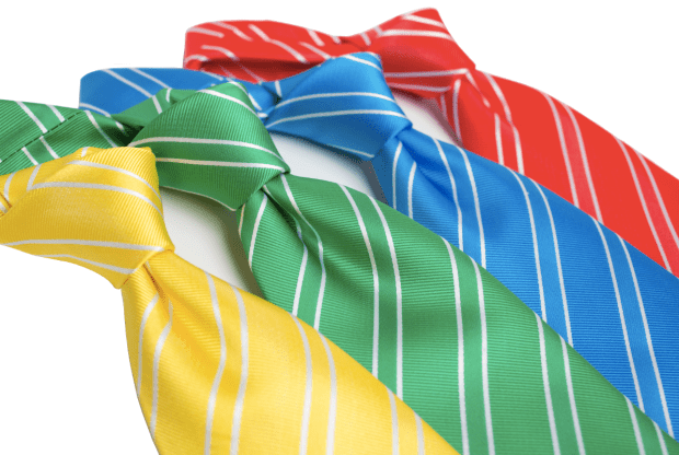 Four men's ties in yellow, green, blue and red