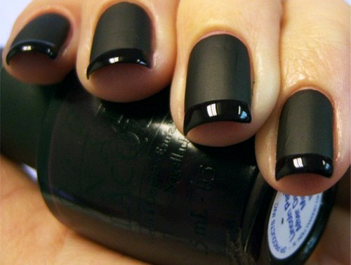 A black matte french manicure from ciaobella50.com