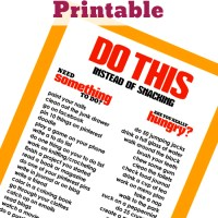 Stop!! Are you really hungry? FREE Do This Instead of Snacking Printable