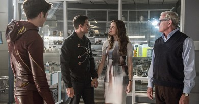"The Flash -- ""The Man Who Saved Central City"" -- Image FLA201b_0084b -- Pictured (L-R): Grant Gustin as Barry Allen/ The Flash, Robbie Amell as Ronnie, Danielle Panabaker as Caitlin Snow and Victor Garber as Professor Stein -- Photo: Cate Cameron /The CW -- © 2015 The CW Network, LLC. All rights reserved"