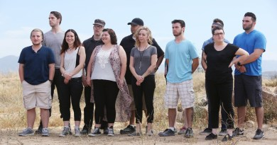 """FACE OFF -- """"Lost Languages"""" Episode 1003 -- Pictured: (l-r) Rob Seal, Johnny Leftwich, Yvonne Cox, Robert Lindsay, Katie Kinney, Samuel """"Njoroge"""" Karumba, Anna Cali, Anthony Canonica Jr., Kaleb Lewis,Melanie Licata, Walter Welsh -- (Photo by: Jordin Althaus/Syfy)"""