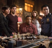 "GRIMM -- ""Map of the Seven Knights"" Episode 510 -- Pictured: (l-r) Jacqueline Toboni as Trubel, David Giuntoli as Nick Burkhardt, Russell Hornsby as Hank Griffin, Bree Turner as Rosalee Calvert, Reggie Lee as Sgt. Wu -- (Photo by: Scott Green/NBC)"