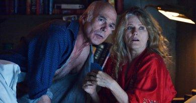 "12 MONKEYS -- ""Meltdown"" Episode 207 -- Pictured: (l-r) Michael Hogan as Dr. Vance Eckland, Barbara Sukowa as Katarina Jones -- (Photo by: Ben Mark Holzberg/Syfy)"