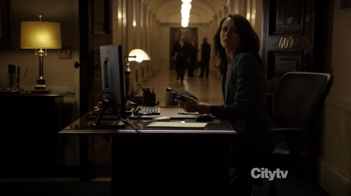 Root (Amy Acker) listening in on Special Council - Person of Interest