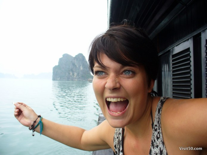 Sarah in Halong Bay, Vietnam