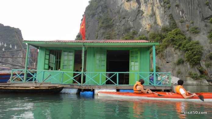 Halong Bay, Vietnam - floating school in floating village