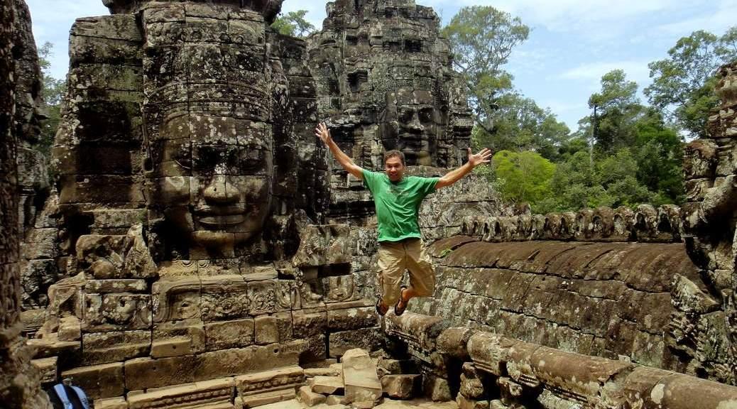 Jumping in Bayon, Angkor Thom, Cambodia