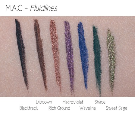 swatches review M.A.C Fluidlines M.A.C eyeliner