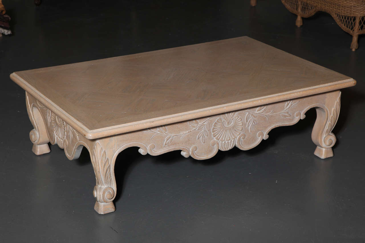id f whitewash kitchen table Large White Washed Oak Baroque Revival Coffee Table 3