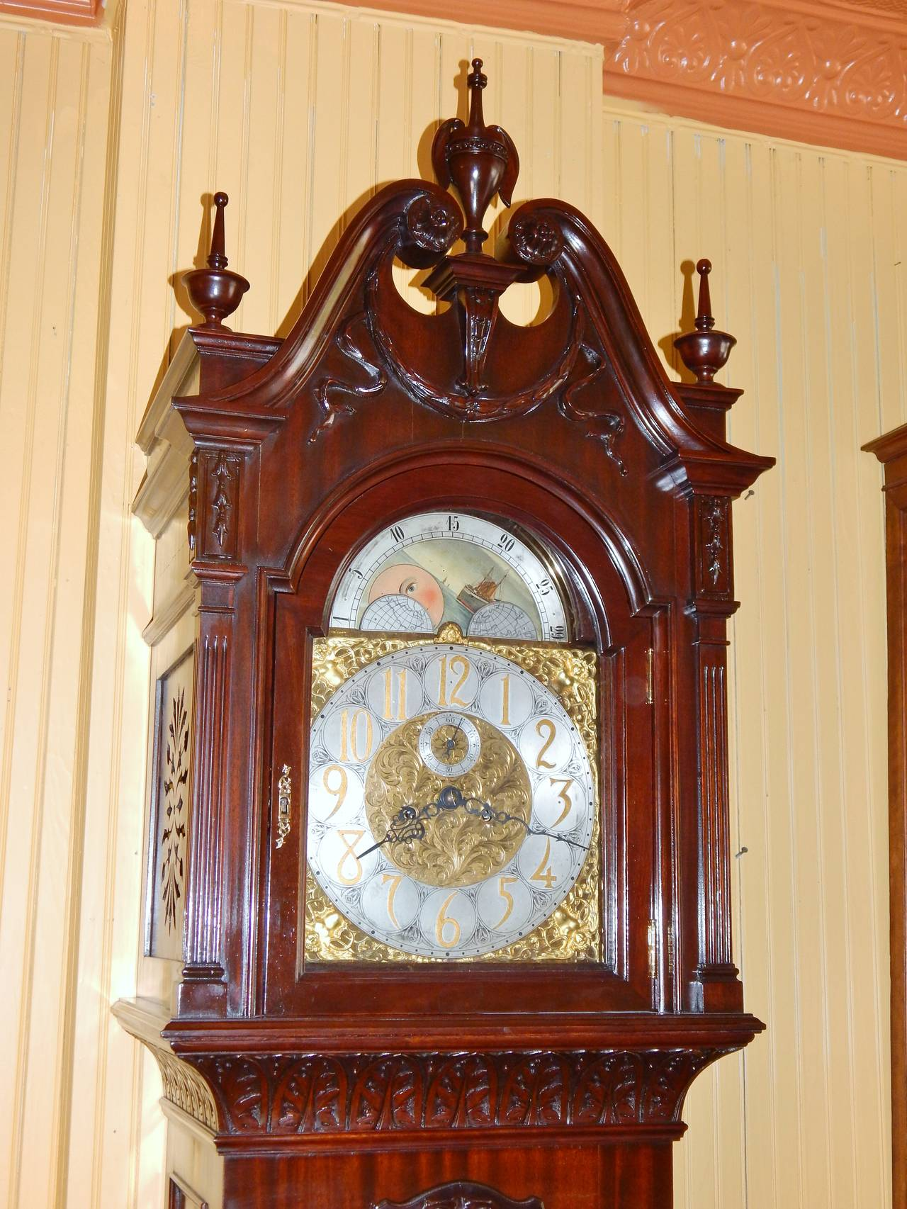 Genial Sale Far Clock Parts A Ly Carved Mahogany Large Size Far Works Signed Patent Monumental Rare Carved Mahogany Far Clock By Korfhage Far Clocks furniture Unique Grandfather Clock