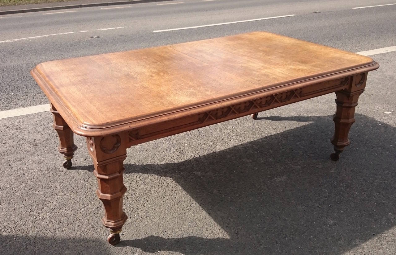 Splendid British Large Century Victorian Gothic Oak Table Forsale Large Century Victorian Gothic Oak Table At Oak Table Legs Oak Table Round houzz-03 Oak Dining Table