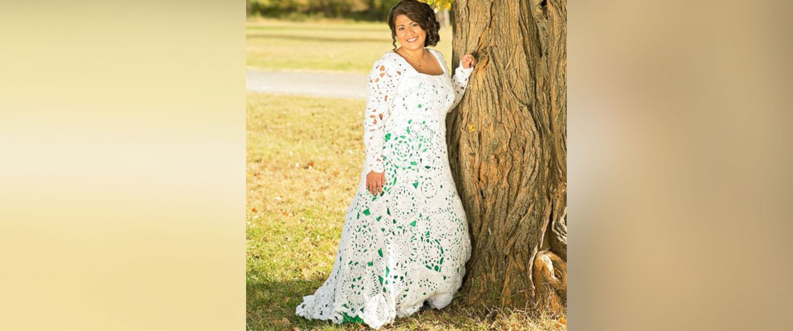 story id crocheted wedding dress PHOTO Abbey Ramirez Bodley spent eight months and 70 crocheting her gorgeous wedding gown