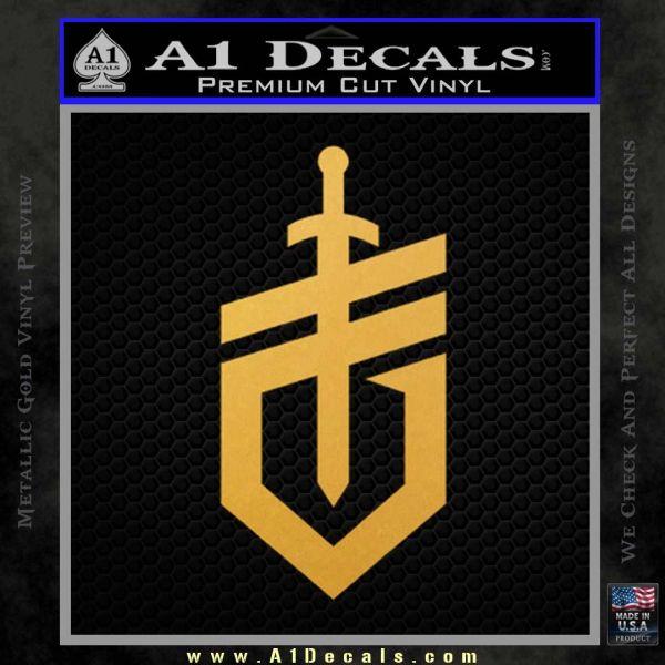 Gerber Knives Decal Sticker New Shield Gold Vinyl