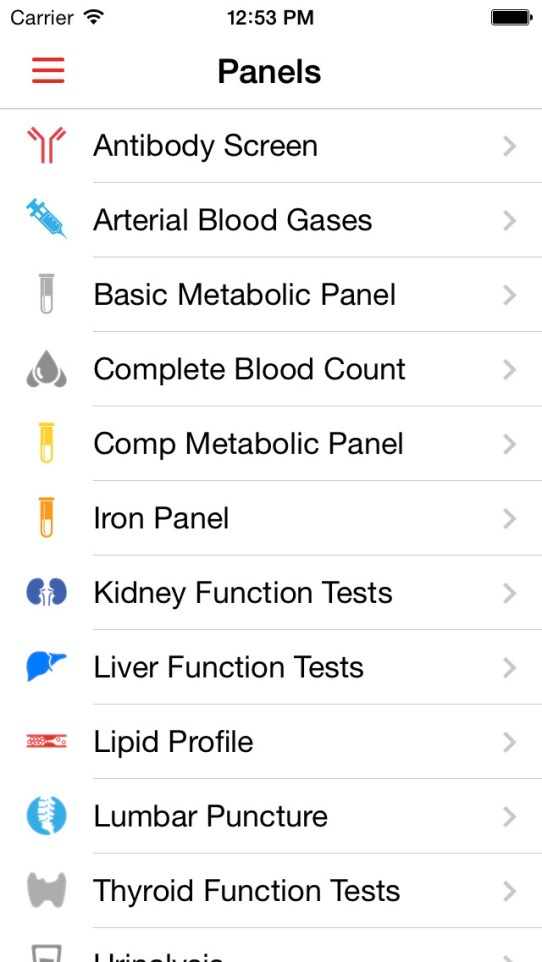 Lab Values Reference iPhone