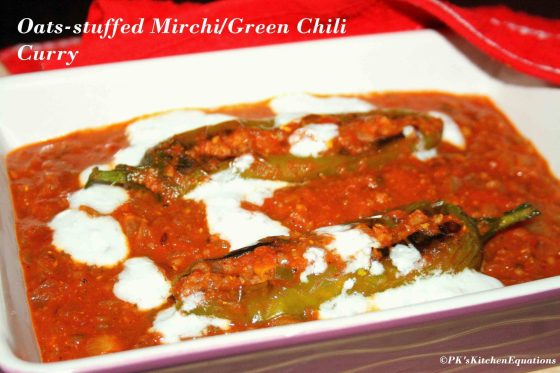 Oats-Stuffed Mirchi/Green Chili Curry – Guest Post by Poojita of PK's Kitchen Equations