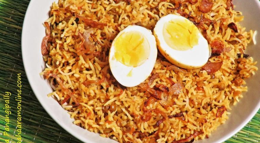 Masoor Dal and Boiled Egg Biryani
