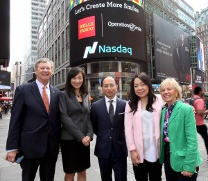 From left, William P. Magee, Jr. D.D.S., M.D., CEO and co-founder of Operation Smile; Shuyi Wang, vice president and Asian segment marketing manager for Enterprise Marketing Strategy and Segments at Wells Fargo; Rahul Baig, managing director and head of New York Corporate Banking at Wells Fargo; Della Ng, vice president of Integrated Marketing at Wells Fargo; and Kathleen S. Magee, president and co-founder of Operation Smile. (Photo credit: Jay Mandal)