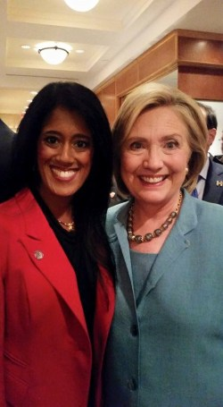 Twins Cities attorney Shivanthi Sathanandan, with Hilary Clinton during a 2015 visit to Minneapolis. Sathanandan was named to the Hilary for American AAPI Leadership Council on Wednesday.
