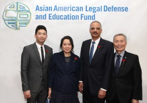 AALDEF 2016 Justice in Action Award recipients and their presenters, from left, Phil Yu, Heidi C. Chen, Eric H. Holder, Jr. and George Takei. (Photo by Lia Chang)