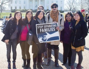 Representatives from SEARAC, NAKASEC, NQAPIA, and SAALT in front of the White House.