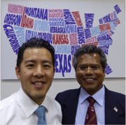 U.S. diplomat Joshua Shen of the U.S. Embassy in Sri Lanka, left, and Prof. Patrick Mendis.