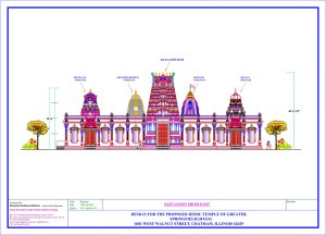 Architectural rendering of the planned expansion of the Hindu Temple of Greater Springfield in Chatham, Ill.