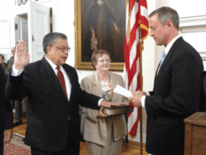 Ed Chow is sworn in as the Secretary of Veterans Affairs for the State of Maryland by Governor Martin O'Malley.