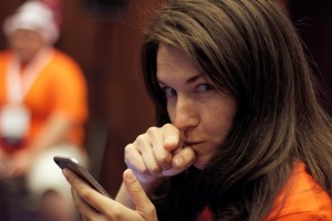 Petya Raykovska pointing her finger at the camera like I was doing something wrong