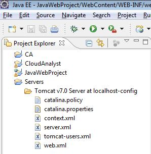 Tomcat Server in Project Explorer in Eclipse