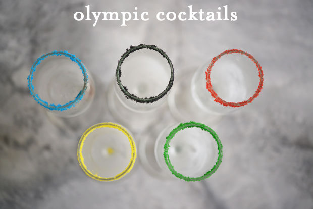 Olympic cocktail glasses with sugar colored rings