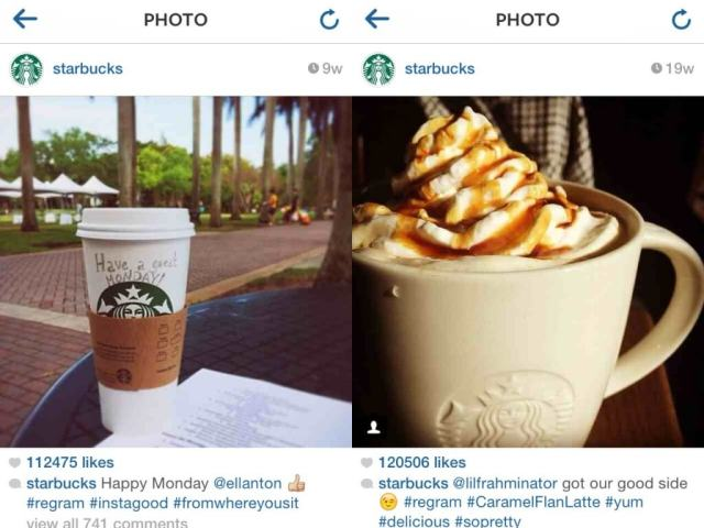 starbucks regramming on instagram